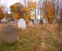 View facing east showing large, eroded headstones, Roman Catholic Parish Cemetery, Harbour Grace, NL.  Photo taken November 1, 2005.; HFNL/ Deborah O'Rielly 2005.