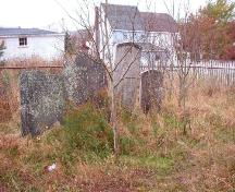 View looking west, showing a cluster of headstones and private property which backs onto the cemetery.  Photo taken November 1, 2005.; HFNL/ Deborah O'Rielly 2005.