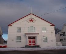 Exterior photo of Masonic Lodge Harbour Grace showing main gable end of building.; HFNL 2005