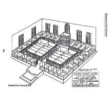 The restored Free Meeting House with box pews is a complete modified restoration of the original 1821 design.  Using historic and physical evidence, this floor plan was designed for the restoration.; Moncton Museum