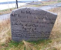 The oldest intact headstone in the Old Cemetery, dated October 16, 1772 in memory of John Limbrey of Devon, England; HFNL/Andrea O'Brien 2005