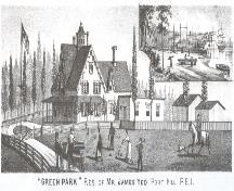 Engraving of house and shipyard; Meacham's Illustrated Historical Atlas of PEI, 1880