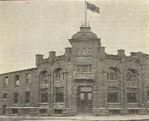 The Transcript Building, which replaced a wooden structure on the same site in 1900, is pictured here in a 1908 publication of the Moncton City Directory.; Moncton Museum