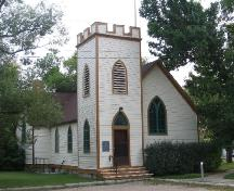 View of the front and side of Rugby Chapel highlighting the tower, 2005.; City of Saskatoon, Kathlyn Szalasznyj, 2005.
