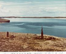 Panoramic view of Whalers' Graves looking out over Balaena Bay; John R. Bockstoce