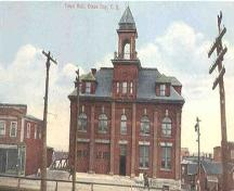 Main elevation, Glace Bay Town Hall, Glace Bay, NS, circa 1905.; Courtesy of Gary Gallivan.