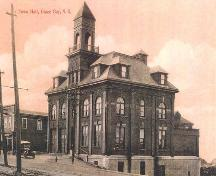 Front and side elevations, Glace Bay Town Hall, Glace Bay, NS, circa 1918.; Courtesy of Gary Gallivan.