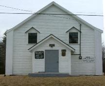 The front elevation of the Greenville African Baptist Church, Greenville, Yarmouth County, NS, 2006.; Heritage Division, NS Dept. of Tourism, Culture & Heritage, 2006