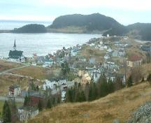 View of Trinity, Trinity Bay, NL from Gun Hill, including St. Paul's Anglican Church and looking southeast towards Hill Street out to Hog's Nose and Trinity Harbour, with Admiral's Point in the background, 2005.; Trinity Historical Society Archives