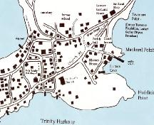Partial map of the Town of Trinity circa 1997, including the Trinity Historic Area.; The Story of Trinity, Trinity Historical Society