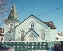 View of front facade, Christ Church, 086 Quidi Vidi Village Road, St. John's, taken 2004.; HFNL 2005