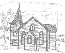 Pen and ink drawing of Christ Church, Quidi Vidi, St. John's, by Newfoundland artist Jean Ball, 1975.; Newfoundland Historic Trust 2006