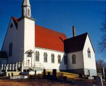Exterior photo of the South facade of St. James Anglican Church, Carbonear, circa 1999.; HFNL 2006