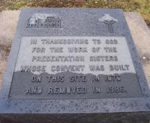 Plaque marking the site of the former Presentation convent, Renews, NL. Photo taken November, 2005.; HFNL/Andrea O'Brien 2005