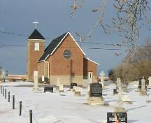 View of the rear of the church and cemetery.; Lindy Thorsen, 2006.
