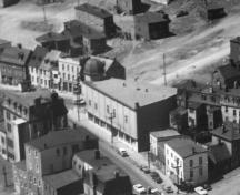 Aerial view of the Majestic Theatre, looking northwest.  Photo taken circa 1950.; City of St. John's Archives 2006.