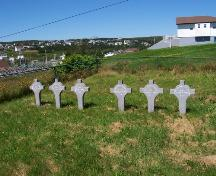 Headstones of Nuns, all identical markers with the names and dates of each Nun. Photo taken August 2005.; HFNL/ Deborah O'Rielly 2006.