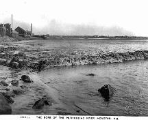 In 1905, the Tidal Bore was already a tourist attraction.  In the distance is evidence of Moncton's shipping and shipbuilding industry.; Moncton Museum