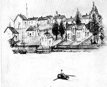 The development of Moncton's riverside property, owned largely by Ezekiel Taylor, is portrayed in this 1855 sketch.; Moncton Museum