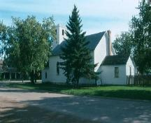 View from north showing crenellated spire, 2002.; Government of Saskatchewan, Frank Korvemaker, 2002.