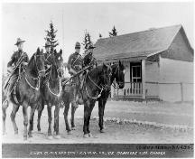 Sergeant Oliver and staff, Royal North West Mounted Police, Canmore, Alberta (1914); Glenbow Archives, NA-4268-1 (1914)