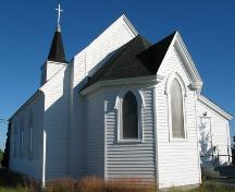 Rear elevation, St. Paul's United Church, Stonehurst Road, Blue Rocks, Lunenburg County, Nova Scotia, 2006.; Heritage Division, Nova Scotia Department of Tourism, Culture and Heritage, 2006.