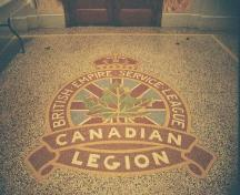 Royal Canadian Legion crest on foyer's terrazzo floor, 2005.; Ross Herrington, 2005.