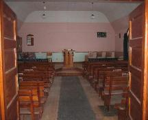 View of interior of Hallonquist Church of God looking towards the pulpit from the main enterance, 2006.; Clint Robertson, 2006.