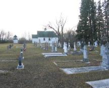 Ruthenian Greek Catholic Parish; view of church, bell tower and cemetery from north side of the lot; 2005.; Government of Saskatchewan, Michael Thome, 2005.