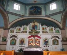 View of sanctuary of the Ukrainian Orthodox Church of  Ascension featuring the iconostasis, 2005.; Government of Saskatchewan, Michael Thome, 2005.
