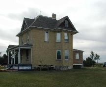Front and side elevations of farmhouse, showing 2-level bay window, 2005.; Lindy Thorsen, 2005.