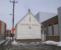View of the rear of the Orange Hall that faces south, adjacent to a city lane (March 2006); City of Edmonton, 2006