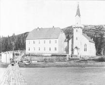 Historic postcard of the first Moravian Church in Makkovik, transported from Germany in 1896, and destroyed by fire in 1948.; HFNL 2006