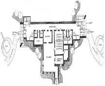 Proposed main floor plan of the Argentia Military Heritage Centre, utilizing the 282 Coastal Defence Battery site, showing placement of guns.; Beaton Sheppard Associates Ltd. 2005