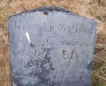 Oldest recorded headstone in cemetery, dated December 8, 1746 in memory of John Commons. Photo taken December, 2005.; HFNL/Andrea O'Brien 2005
