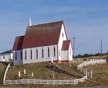 Exterior photo of All Saints Anglican Church and Cemetery, English Harbour, NL; HFNL / Andrea O'Brien 2005