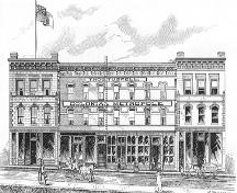 Historic drawing of the Colonial Hotel, 1891, then known as the Colonial Metropole Hotel.; Victoria Illustrated 1891, p.80.