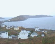 View from the southwest of The Downs Historic Conservation Area, Ferryland, NL. Photo taken October 2006. ; HFNL/Andrea O'Brien 2006