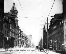 Streetscape view including the National Film Board Building, Barrington Street, Halifax, NS, 1899.; Courtesy Nova Scotia Archives & Records Management, Notman Photographic Collection.