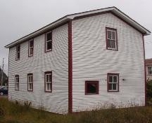 Exterior photo of the Wakeham Sawmill, Placentia, NL, showing rear and side facade, taken during Doors Open Placentia event, 2004.; HFNL 2005