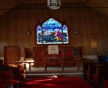 Interior view of the church showing the stained glass window at the altar.  Photo taken October 17, 2006.; HFNL/ Deborah O'Rielly 2006