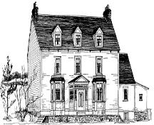 Drawing by Jean M. Ball of historic William Alexander House, also known as Bridge House, showing front view and side profile, 1978.; Newfoundland Historic Trust, 1978