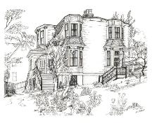 Pen and ink drawing of Angel House showing eastern and southern facades.; Newfoundland Historic Trust 2006