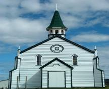 Front view of St. Joseph's Roman Catholic Church, Bonavista, circa 2005, after restoration work; Newfoundland Historic Trust, 2005