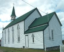 Side and rear photo view of St. Joseph's Roman Catholic Church, Bonavista, circa 2006, after restoration work; Newfoundland Historic Trust, 2005