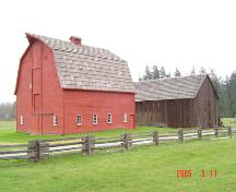 Annand/Rowlatt Barns:  Exterior view of the 1939 Red Barn and the 1898 Barn, March 2005; Township of Langley, Julie MacDonald 2005