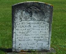 Grave marker of Frederick Armand Robichaud, one of the founders of Corberrie.; Heritage Division, NS Dept. of Tourism, Culture and Heritage, 2006.