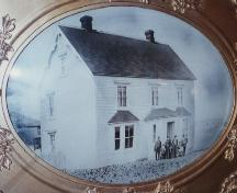 Historic family portrait including a front and side exterior view of Henry Tremblett House in Bonavista, NL, circa 1895; HFNL 1996