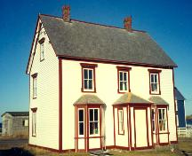 Exterior front and side view of Henry Tremblett House, Bonavista, NL, circa 2002, after restoration work; HFNL 2002