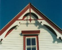 Photo of gable end decoration, Henry Tremblett House, Bonavista, NL, circa 2002, after restoration work; HFNL 2002